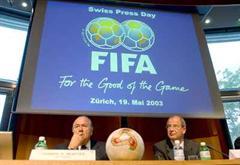 FIFA-Praesident Josef Blatter und Generalsekretär Urs Linsi.