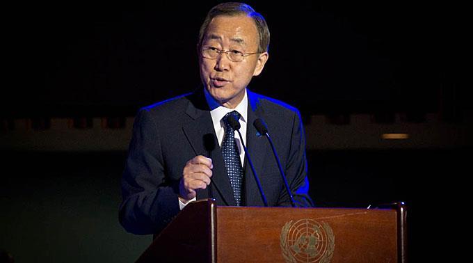 Ban Ki Moon nimmt den Scherz mit Humor.