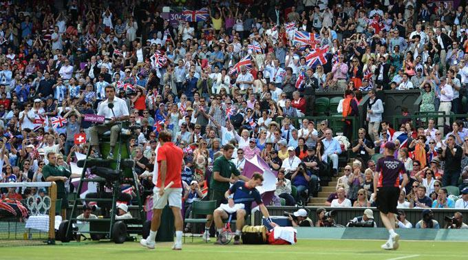 Roger Federer im Spiel gegen Andy Murray.