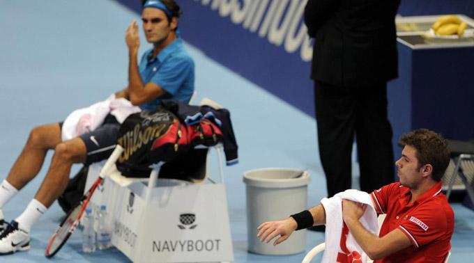 Roger Federer und Stanislas Wawrinka. (Archivbild)