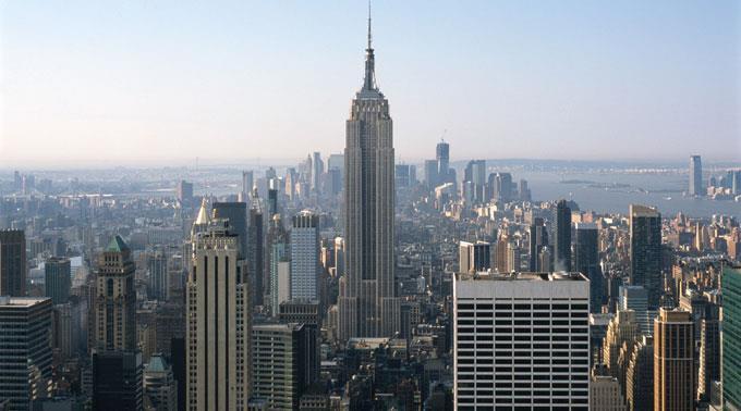 Blick auf New York City.